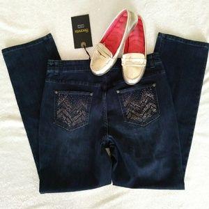 NWT Embellished Jeans Straight Leg Dark Wash